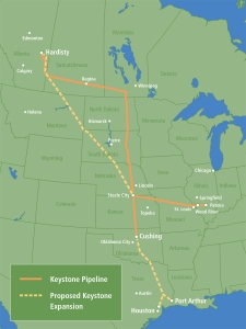 The Keystone Oil Pipeline        (Click to enlarge)
