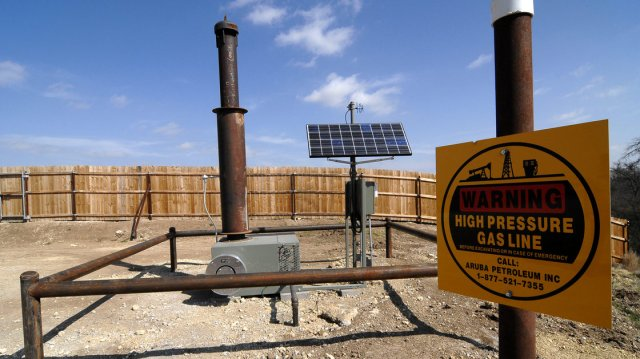Equipment installed by Aruba Petroleum at a natural gas well near Decatur, Texas. Bob and Lisa Parr sued Aruba, calling its drilling sites a nuisance to the family's health. A jury awarded the family $2.9 million.