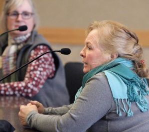 Bonnie Martinell, an organic farmer from the Silvertip area, testifying before the BOGC. Billings Gazette photo