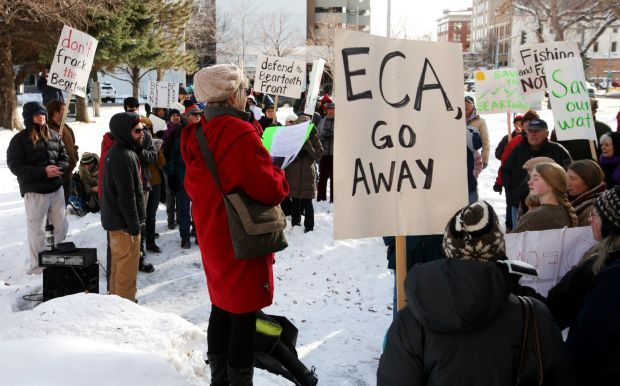 Protest in front of the Montana Board of Oil and Gas Conservation. Billings Gazette photo