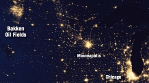 Flaring in the Bakken makes it appear as bright as Minneapolis from space