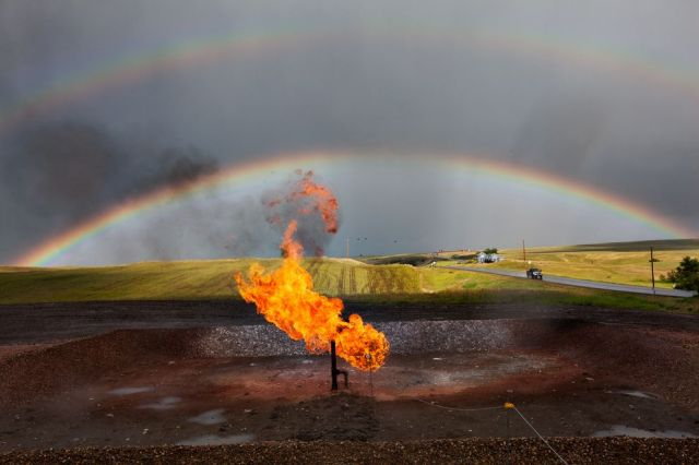 Gas flaring in the Bakken. Courtesy National Geographic