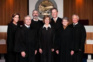 The Montana Supreme Court. Mike Wheat is on the right.