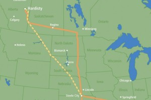 The proposed path of the Keystone XL Pipeline. Click to enlarge.