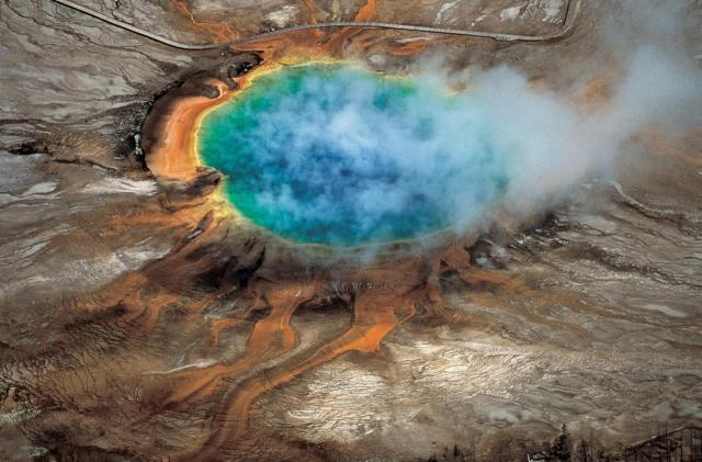 The richly-colored Yellowstone Grand Prismatic Hot Spring was caused by the Yellowstone caldera. Photo: Robert Smith and Lee Siegel