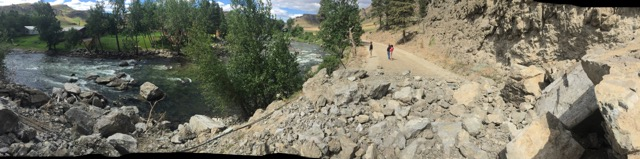 Stillwater rockslide looking upstream