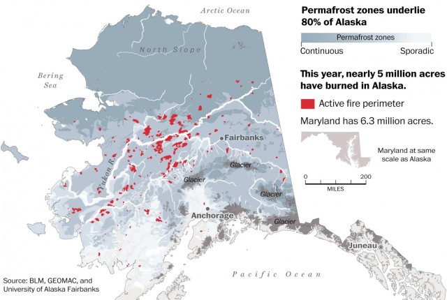 Alaska wildfires as of July 26, 2015 in relation to permafrost areas. Source: Washington Post