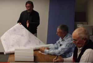 Burt Williams of Nye presents map of proposed oil and gas district to Commissioners