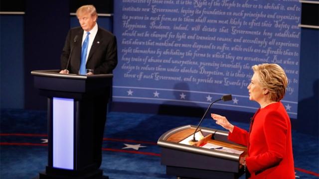 Democratic presidential nominee Hillary Clinton speaks during the presidential debate with Republican presidential nominee Donald Trump at Hofstra University in Hempstead, N.Y., Monday, Sept. 26, 2016. (Rick T. Wilking/Pool via AP)